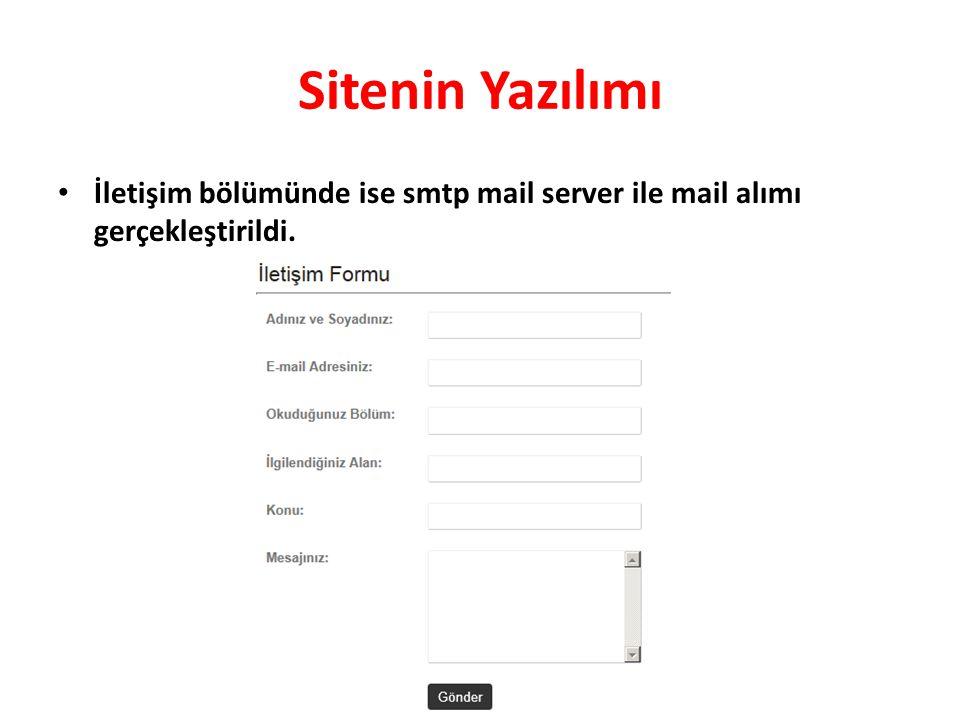 Sitenin Yazılımı İletişim bölümünde ise smtp mail server ile mail alımı gerçekleştirildi.