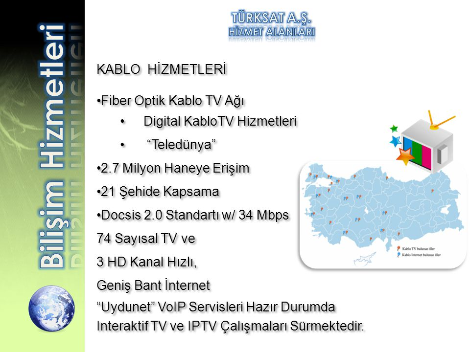 Bilişim Hizmetleri TÜRKSAT A.Ş. KABLO HİZMETLERİ
