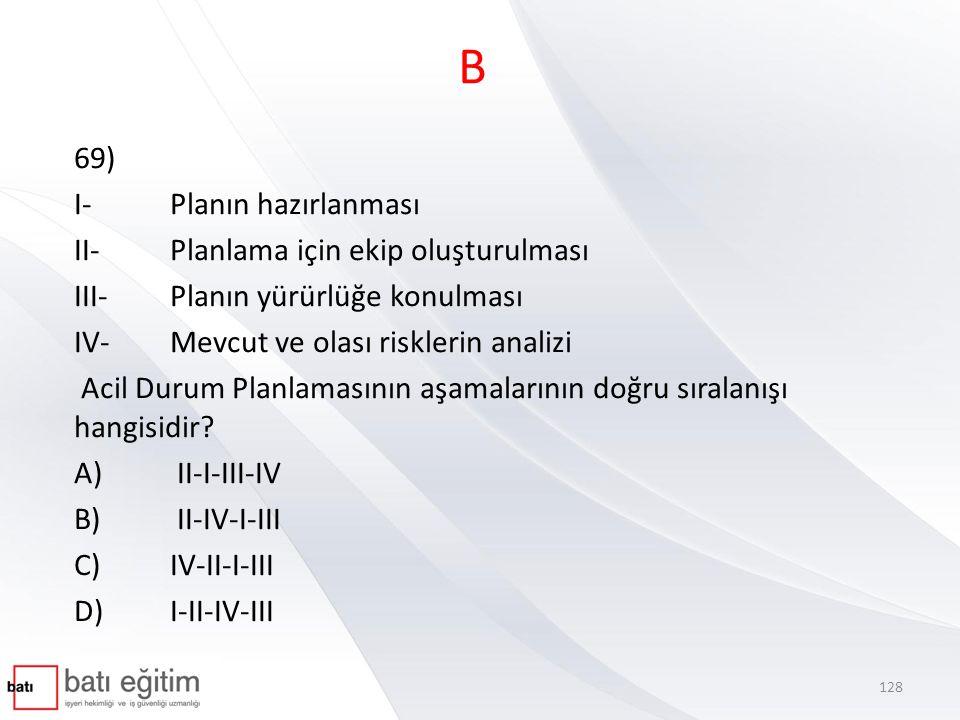 B 69) I- Planın hazırlanması II- Planlama için ekip oluşturulması