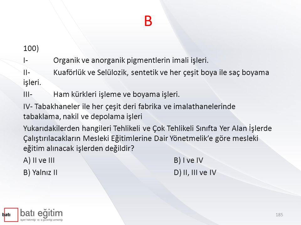 B 100) I- Organik ve anorganik pigmentlerin imali işleri.