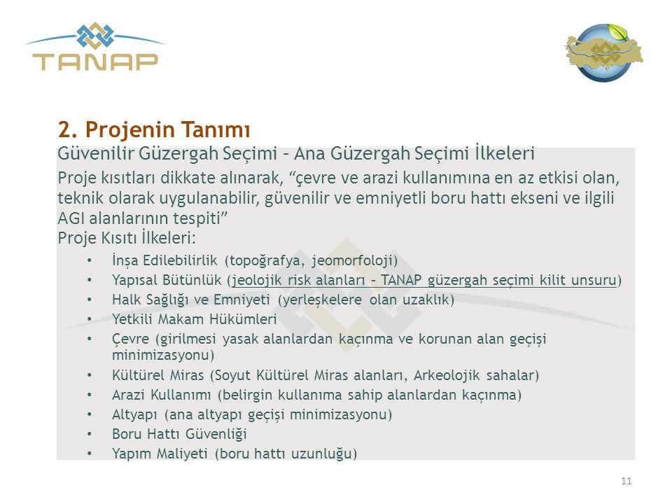 2. Projenin Tanımı Güvenilir Güzergah Seçimi – Ana Güzergah Seçimi İlkeleri.
