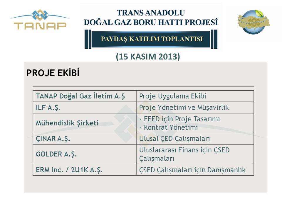 (15 KASIM 2013) PROJE EKİBİ TANAP Doğal Gaz İletim A.Ş