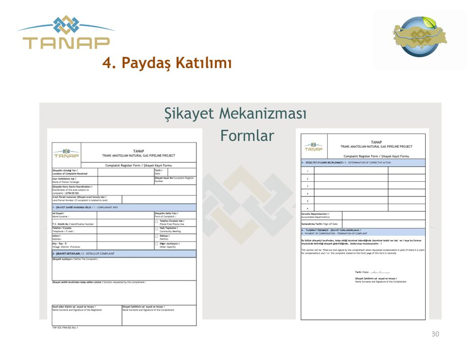 4. Paydaş Katılımı Şikayet Mekanizması Formlar