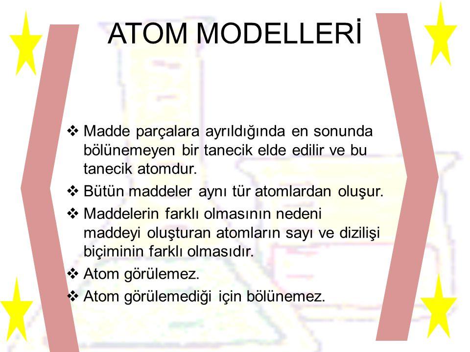 ATOM MODELLERİ Madde parçalara ayrıldığında en sonunda bölünemeyen bir tanecik elde edilir ve bu tanecik atomdur.