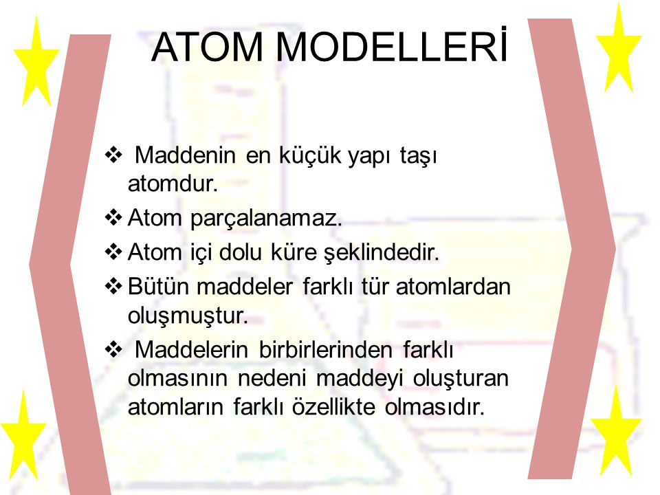 ATOM MODELLERİ Maddenin en küçük yapı taşı atomdur. Atom parçalanamaz.