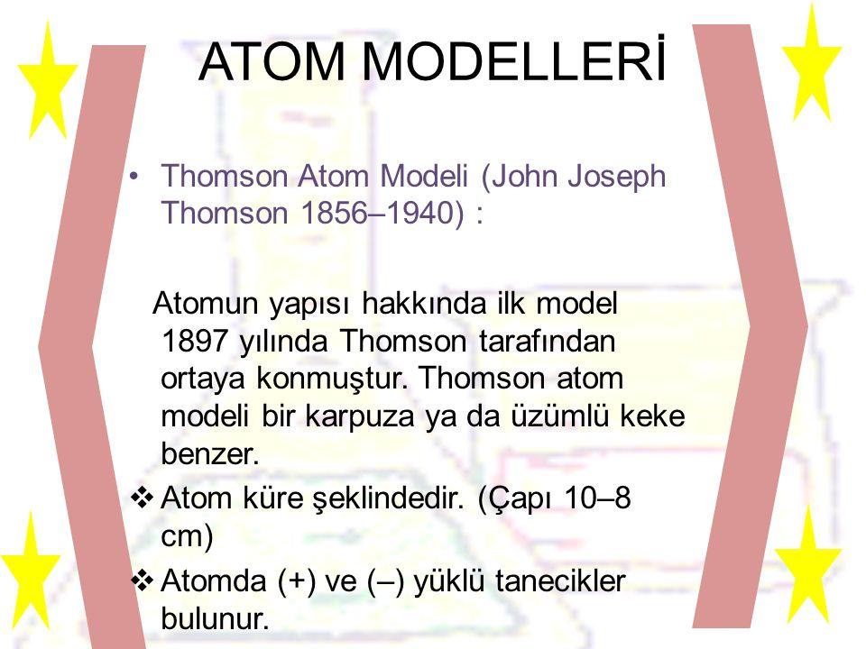 ATOM MODELLERİ Thomson Atom Modeli (John Joseph Thomson 1856–1940) :