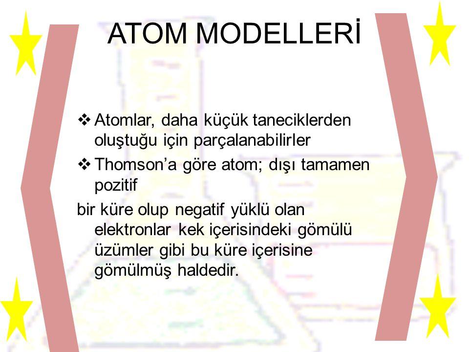 ATOM MODELLERİ Atomlar, daha küçük taneciklerden oluştuğu için parçalanabilirler. Thomson'a göre atom; dışı tamamen pozitif.
