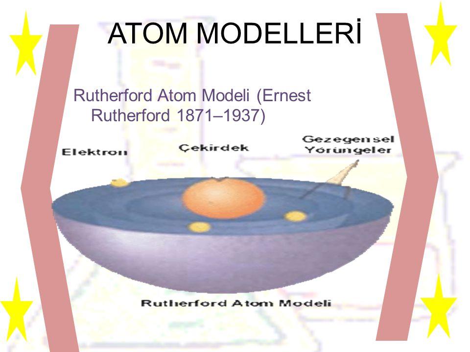 ATOM MODELLERİ Rutherford Atom Modeli (Ernest Rutherford 1871–1937)