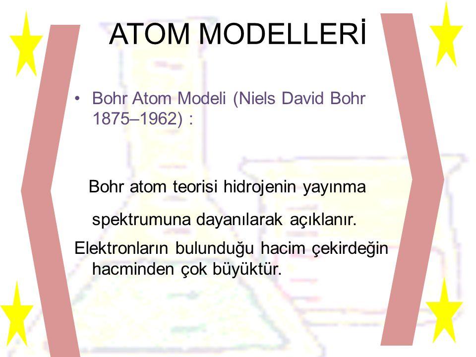 ATOM MODELLERİ Bohr Atom Modeli (Niels David Bohr 1875–1962) : Bohr atom teorisi hidrojenin yayınma spektrumuna dayanılarak açıklanır.