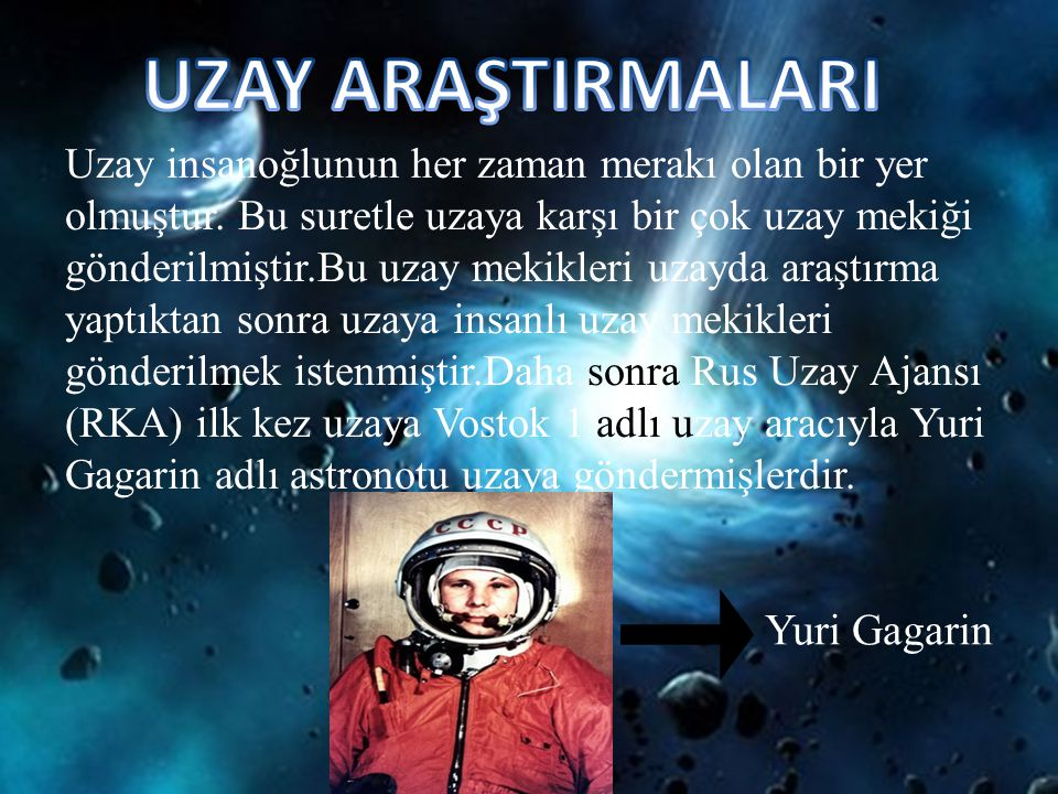 UZAY ARAŞTIRMALARI Yuri Gagarin