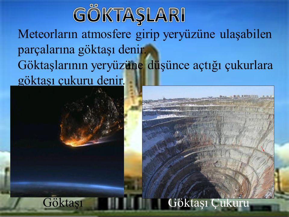 GÖKTAŞLARI Meteorların atmosfere girip yeryüzüne ulaşabilen