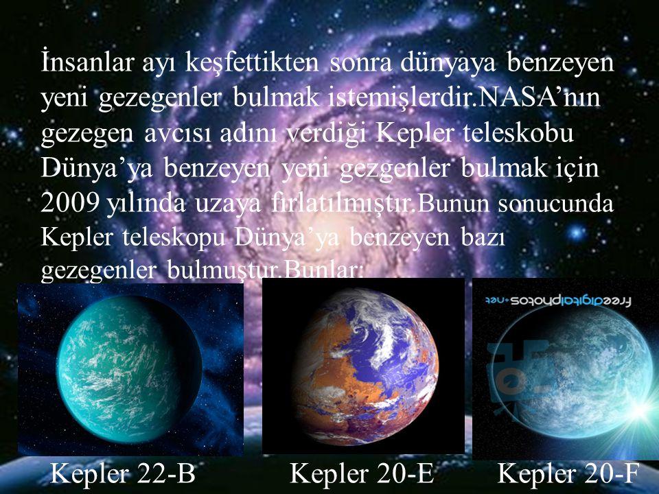 İnsanlar ayı keşfettikten sonra dünyaya benzeyen yeni gezegenler bulmak istemişlerdir.NASA'nın gezegen avcısı adını verdiği Kepler teleskobu Dünya'ya benzeyen yeni gezgenler bulmak için 2009 yılında uzaya fırlatılmıştır.Bunun sonucunda