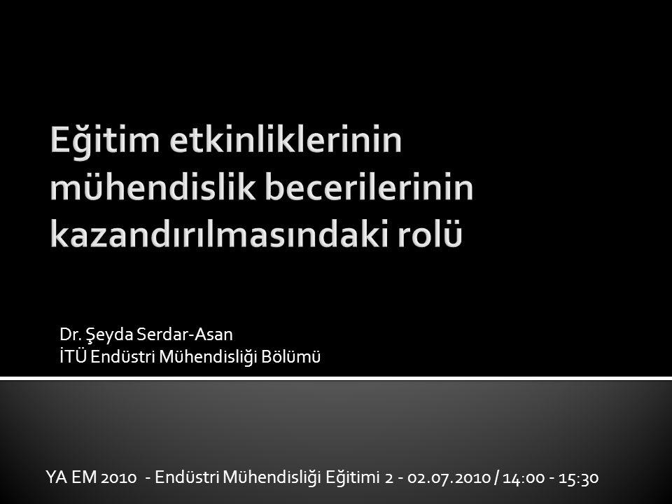 Dr. Şeyda Serdar-Asan İTÜ Endüstri Mühendisliği Bölümü