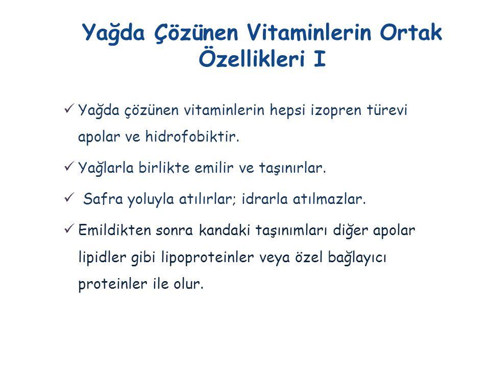 Yağda Çözünen Vitaminlerin Ortak Özellikleri I