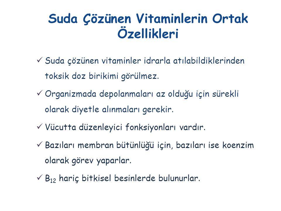 Suda Çözünen Vitaminlerin Ortak Özellikleri