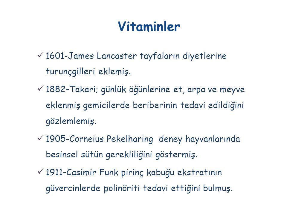 Vitaminler 1601-James Lancaster tayfaların diyetlerine turunçgilleri eklemiş.