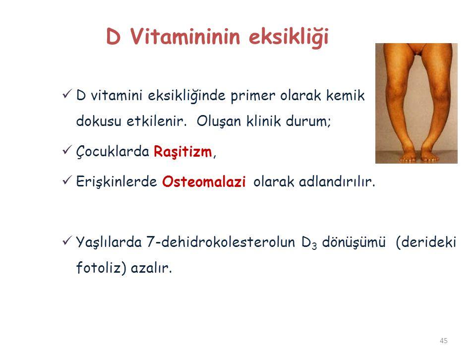 D Vitamininin eksikliği