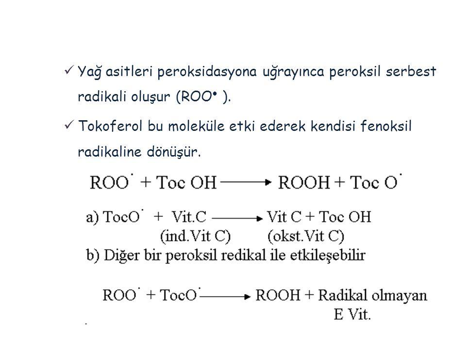 Yağ asitleri peroksidasyona uğrayınca peroksil serbest radikali oluşur (ROO ).