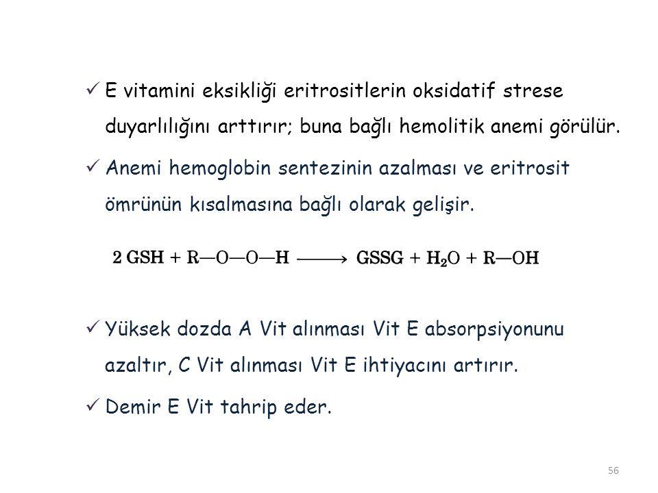 E vitamini eksikliği eritrositlerin oksidatif strese duyarlılığını arttırır; buna bağlı hemolitik anemi görülür.