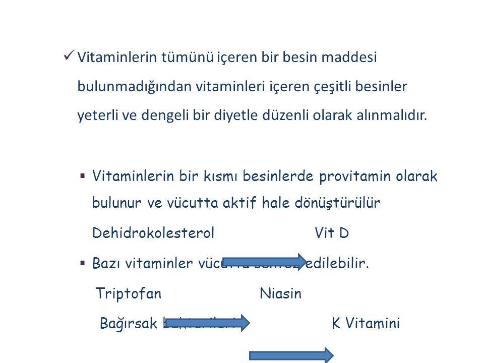 Vitaminlerin tümünü içeren bir besin maddesi bulunmadığından vitaminleri içeren çeşitli besinler yeterli ve dengeli bir diyetle düzenli olarak alınmalıdır.