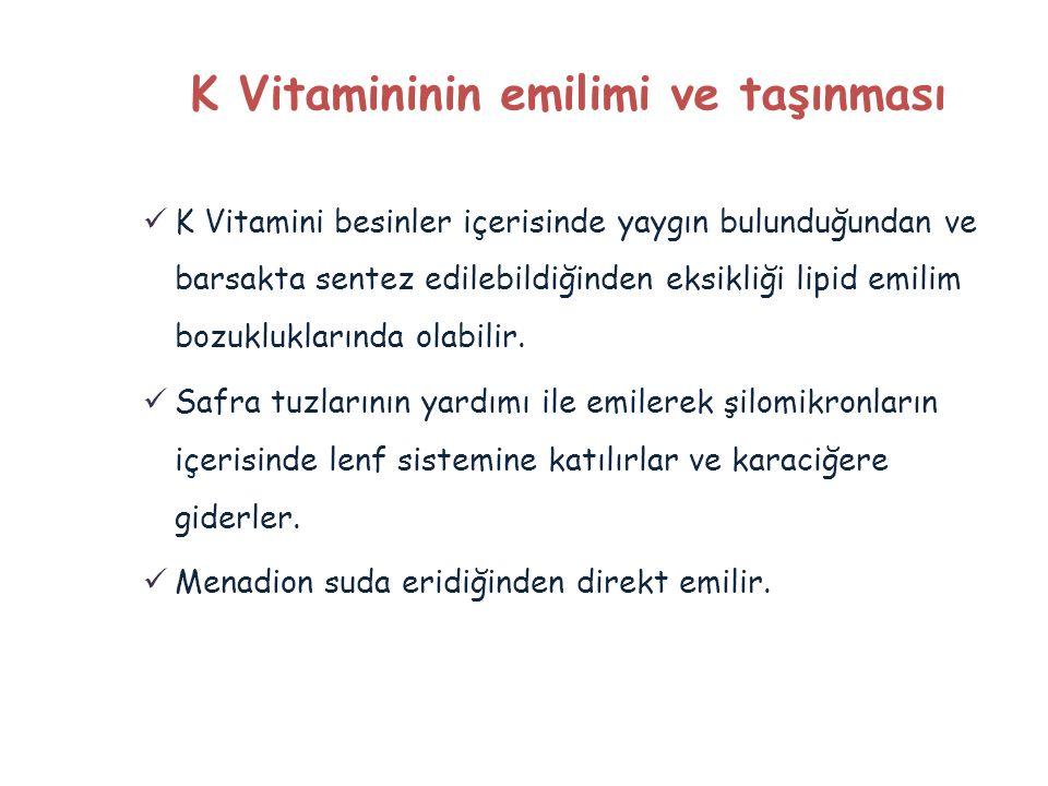 K Vitamininin emilimi ve taşınması