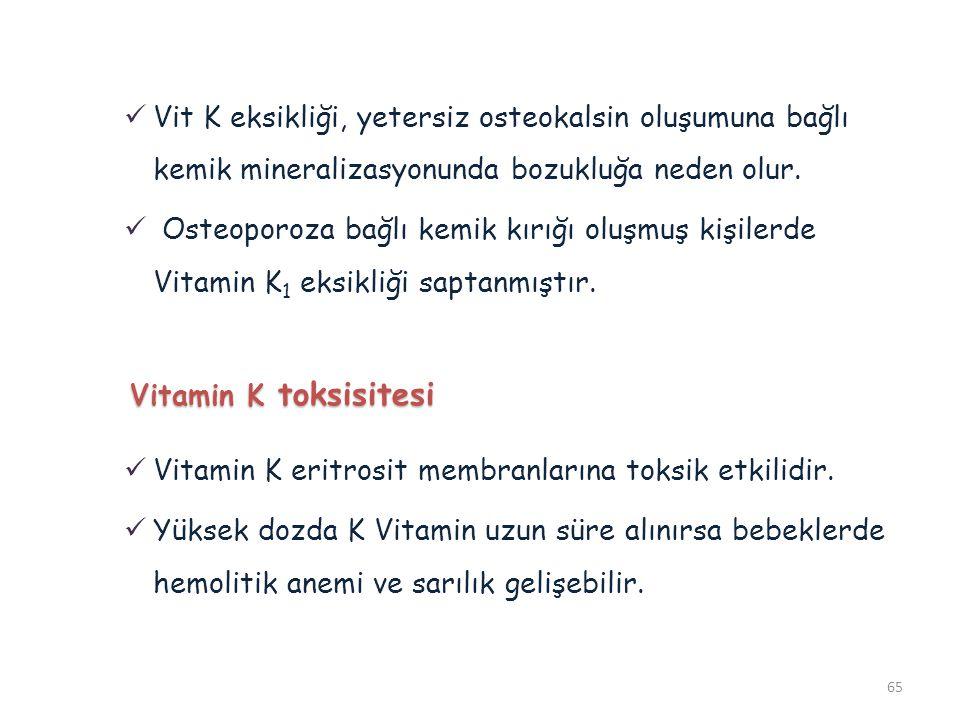 Vit K eksikliği, yetersiz osteokalsin oluşumuna bağlı kemik mineralizasyonunda bozukluğa neden olur.