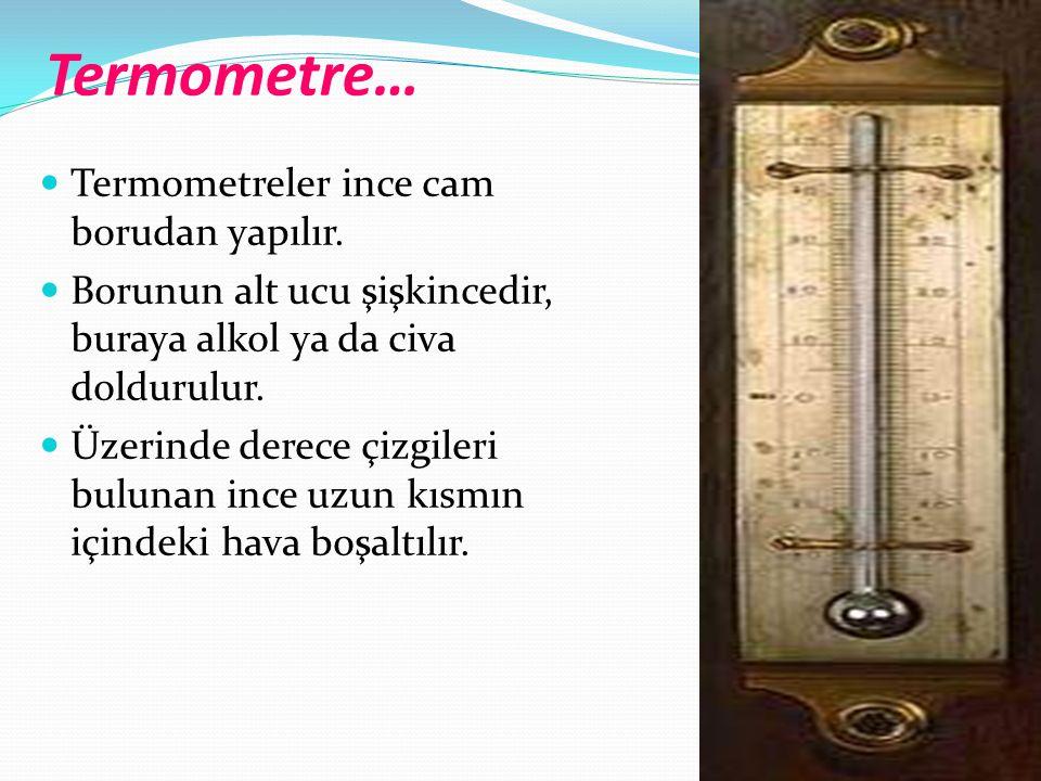 Termometre… Termometreler ince cam borudan yapılır.