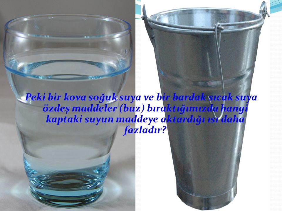 Peki bir kova soğuk suya ve bir bardak sıcak suya özdeş maddeler (buz) bıraktığımızda hangi kaptaki suyun maddeye aktardığı ısı daha fazladır