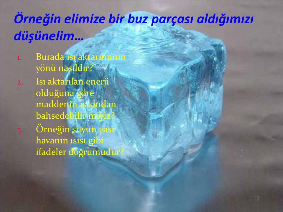 Örneğin elimize bir buz parçası aldığımızı düşünelim…