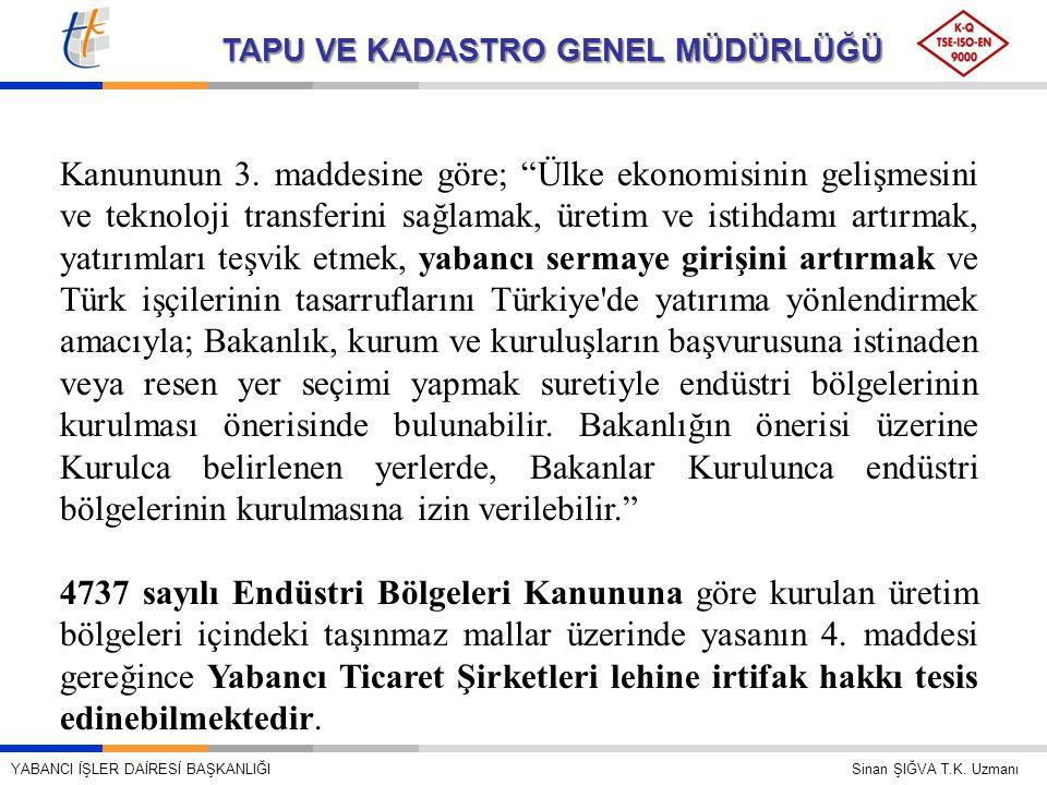 Kanununun 3. maddesine göre; Ülke ekonomisinin gelişmesini ve teknoloji transferini sağlamak, üretim ve istihdamı artırmak, yatırımları teşvik etmek, yabancı sermaye girişini artırmak ve Türk işçilerinin tasarruflarını Türkiye de yatırıma yönlendirmek amacıyla; Bakanlık, kurum ve kuruluşların başvurusuna istinaden veya resen yer seçimi yapmak suretiyle endüstri bölgelerinin kurulması önerisinde bulunabilir. Bakanlığın önerisi üzerine Kurulca belirlenen yerlerde, Bakanlar Kurulunca endüstri bölgelerinin kurulmasına izin verilebilir.