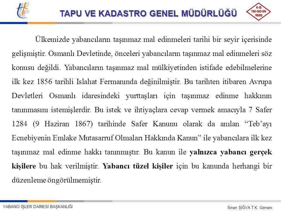 Ülkemizde yabancıların taşınmaz mal edinmeleri tarihi bir seyir içerisinde gelişmiştir. Osmanlı Devletinde, önceleri yabancıların taşınmaz mal edinmeleri söz konusu değildi. Yabancıların taşınmaz mal mülkiyetinden istifade edebilmelerine ilk kez 1856 tarihli Islahat Fermanında değinilmiştir. Bu tarihten itibaren Avrupa Devletleri Osmanlı idaresindeki yurttaşları için taşınmaz edinme hakkının tanınmasını istemişlerdir. Bu istek ve ihtiyaçlara cevap vermek amacıyla 7 Safer 1284 (9 Haziran 1867) tarihinde Safer Kanunu olarak da anılan Teb'ayı Ecnebiyenin Emlake Mutasarruf Olmaları Hakkında Kanun ile yabancılara ilk kez taşınmaz mal edinme hakkı tanınmıştır. Bu kanun ile yalnızca yabancı gerçek kişilere bu hak verilmiştir. Yabancı tüzel kişiler için bu kanunda herhangi bir düzenleme öngörülmemiştir.
