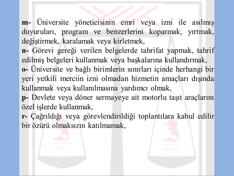 m- Üniversite yöneticisinin emri veya izni ile asılmış duyuruları, program ve benzerlerini koparmak, yırtmak, değiştirmek, karalamak veya kirletmek,
