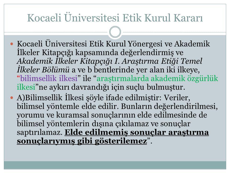 Kocaeli Üniversitesi Etik Kurul Kararı