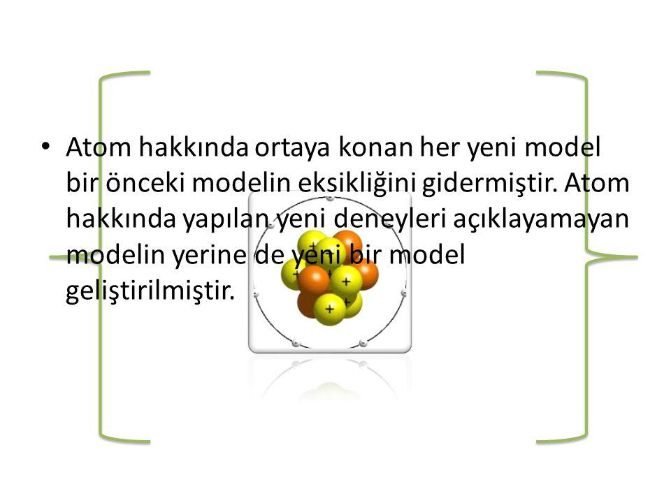 Atom hakkında ortaya konan her yeni model bir önceki modelin eksikliğini gidermiştir.