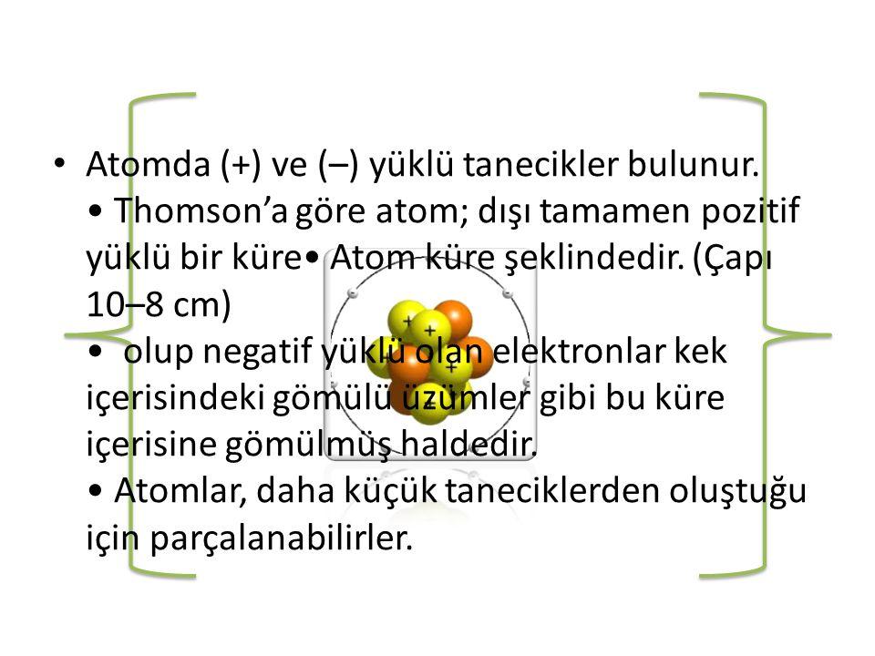 Atomda (+) ve (–) yüklü tanecikler bulunur