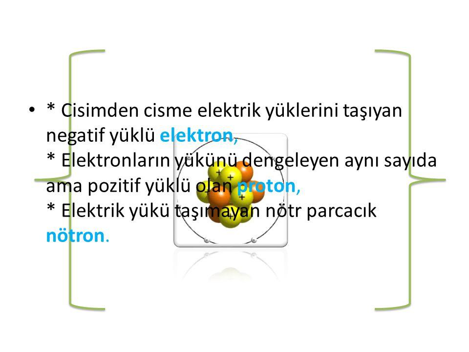 Cisimden cisme elektrik yüklerini taşıyan negatif yüklü elektron,