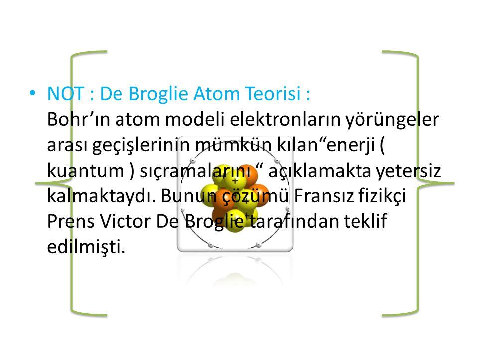 NOT : De Broglie Atom Teorisi : Bohr'ın atom modeli elektronların yörüngeler arası geçişlerinin mümkün kılan enerji ( kuantum ) sıçramalarını açıklamakta yetersiz kalmaktaydı.
