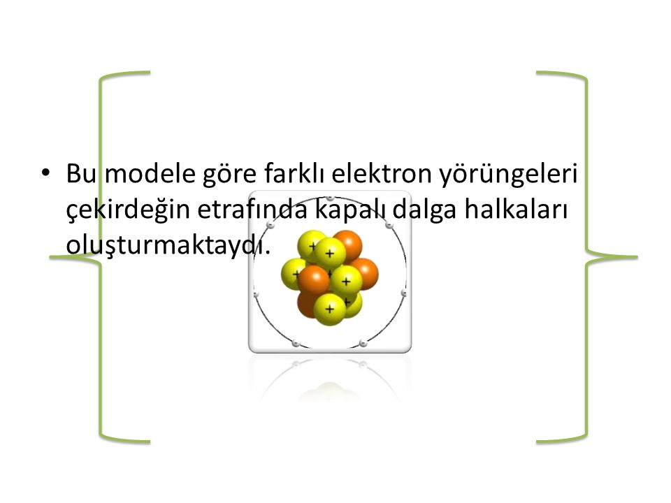 Bu modele göre farklı elektron yörüngeleri çekirdeğin etrafında kapalı dalga halkaları oluşturmaktaydı.