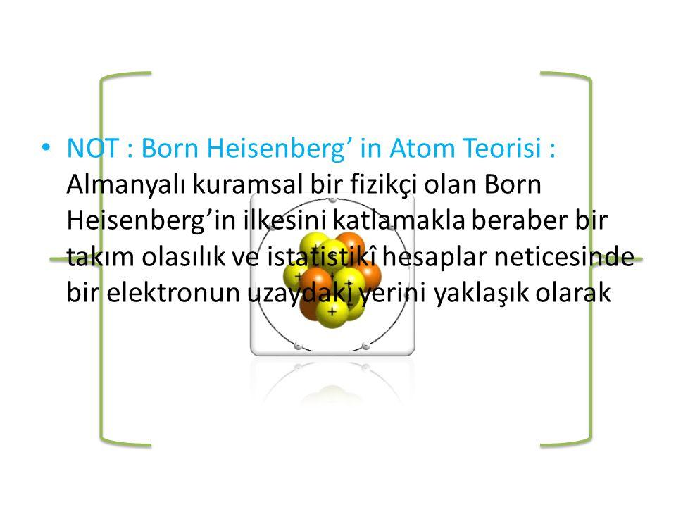 NOT : Born Heisenberg' in Atom Teorisi : Almanyalı kuramsal bir fizikçi olan Born Heisenberg'in ilkesini katlamakla beraber bir takım olasılık ve istatistikî hesaplar neticesinde bir elektronun uzaydaki yerini yaklaşık olarak