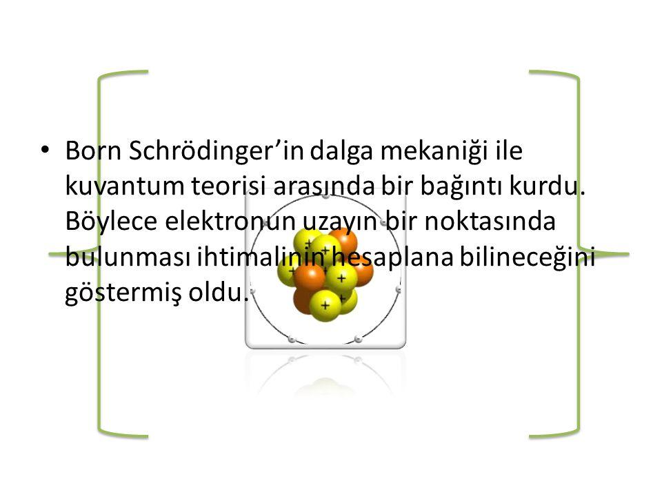 Born Schrödinger'in dalga mekaniği ile kuvantum teorisi arasında bir bağıntı kurdu.
