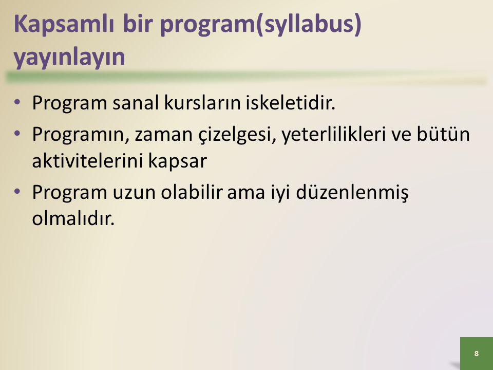 Kapsamlı bir program(syllabus) yayınlayın