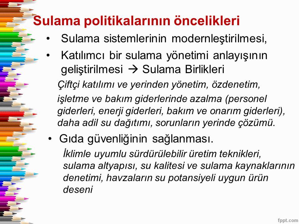 Sulama politikalarının öncelikleri