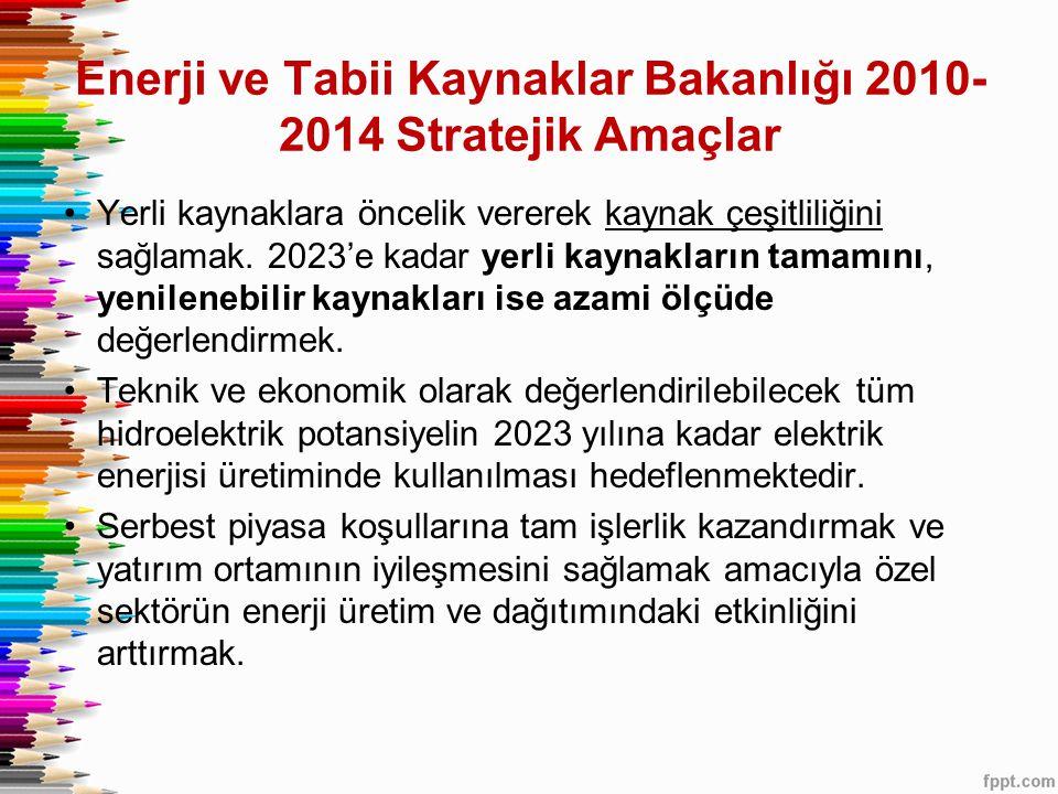 Enerji ve Tabii Kaynaklar Bakanlığı 2010-2014 Stratejik Amaçlar