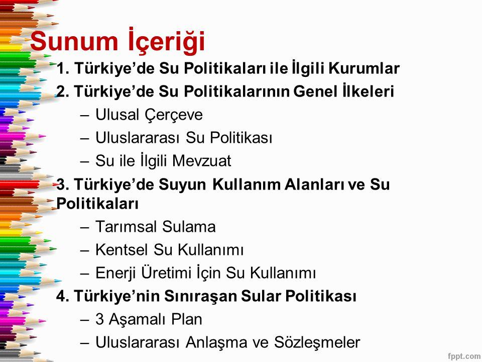 Sunum İçeriği Türkiye'de Su Politikaları ile İlgili Kurumlar
