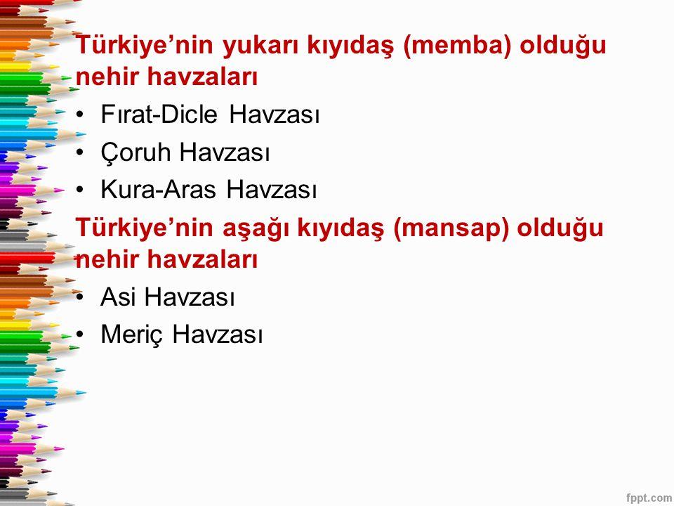 Türkiye'nin yukarı kıyıdaş (memba) olduğu nehir havzaları