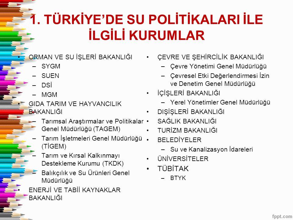 1. TÜRKİYE'DE SU POLİTİKALARI İLE İLGİLİ KURUMLAR