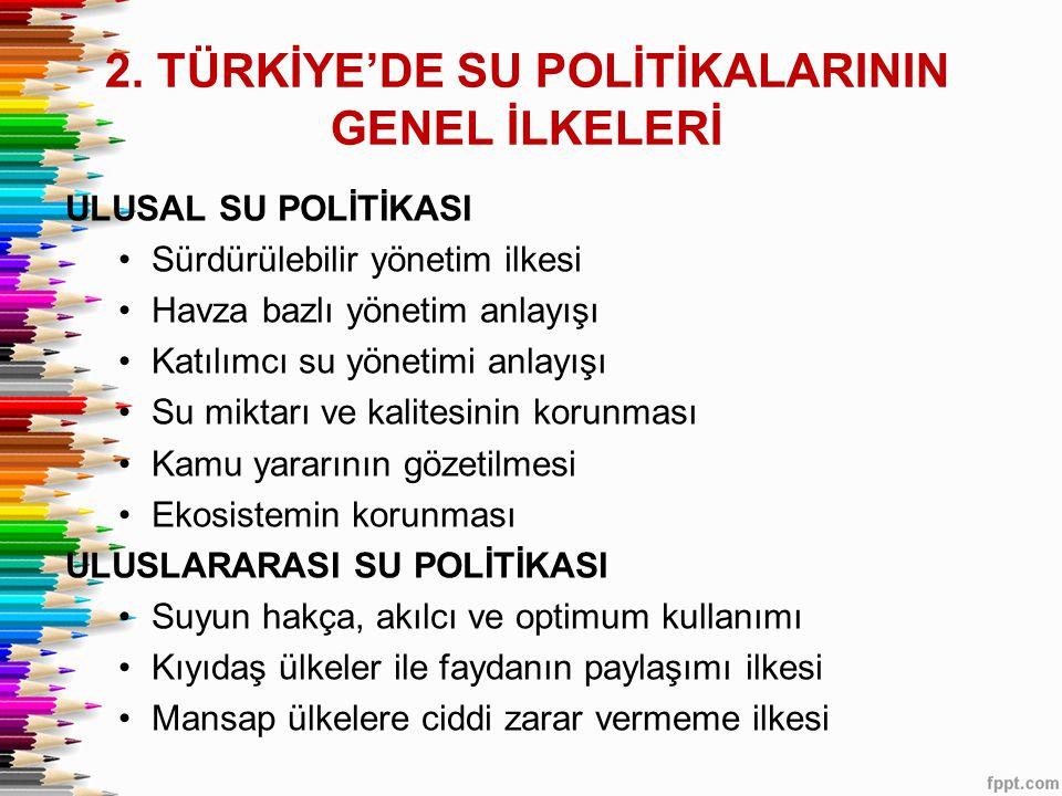 2. TÜRKİYE'DE SU POLİTİKALARININ GENEL İLKELERİ