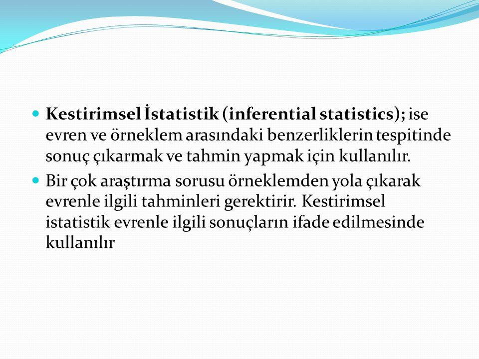 Kestirimsel İstatistik (inferential statistics); ise evren ve örneklem arasındaki benzerliklerin tespitinde sonuç çıkarmak ve tahmin yapmak için kullanılır.