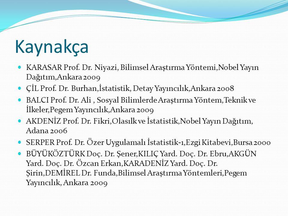 Kaynakça KARASAR Prof. Dr. Niyazi, Bilimsel Araştırma Yöntemi,Nobel Yayın Dağıtım,Ankara 2009.