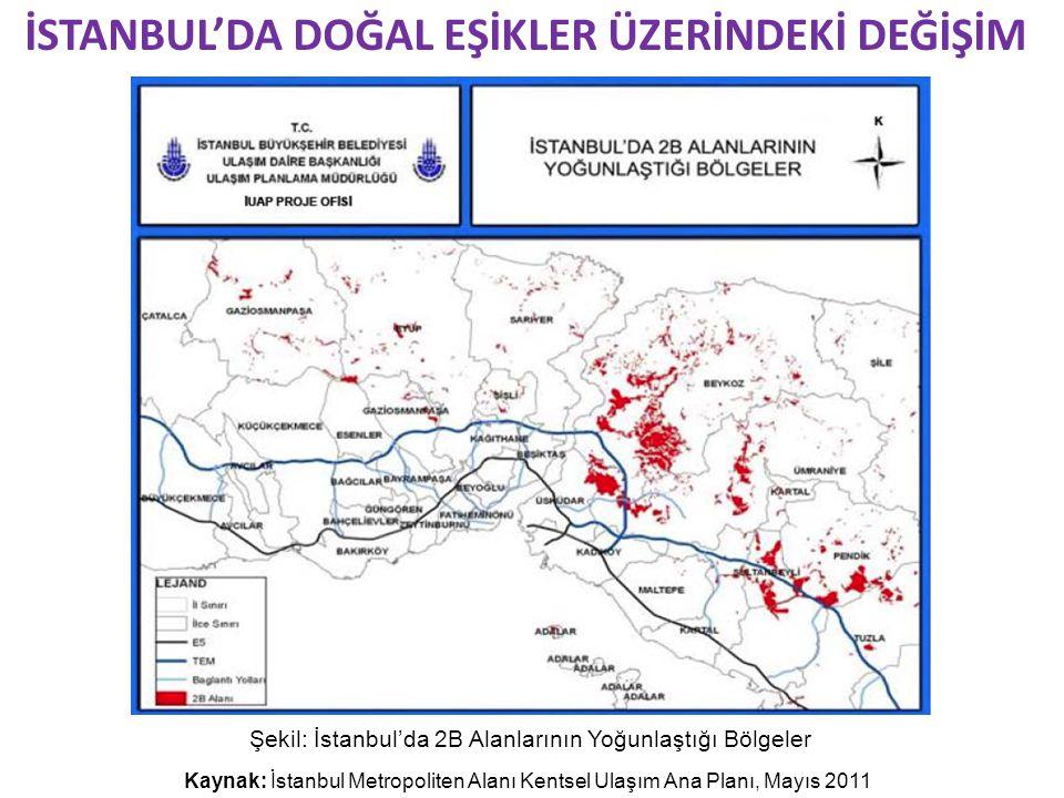 Şekil: İstanbul'da 2B Alanlarının Yoğunlaştığı Bölgeler